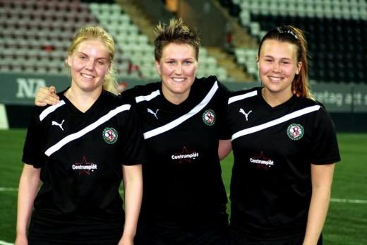 Söders målskyttar mot Öfvre Adolfsberg: Ida Scherling, Ann-Sofie Frost och Milisa Ahmetagic. (Fotot från söderdamernas hemsida).