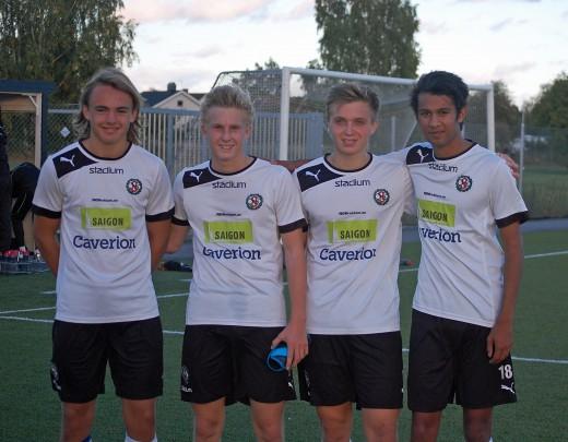 (Lite suddiga) målgörare mot Mölnlycke: Carl Jägerhill, Felix Möler, Rikard Hallgren och Ali Jafri.
