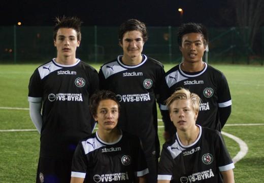 Målgörare mot Rynninge: Kevin Suarez, Almin Masic och Burin Jankaew i den bakre raden och Marcus Karlsson och Gustaf Montin i den främre.