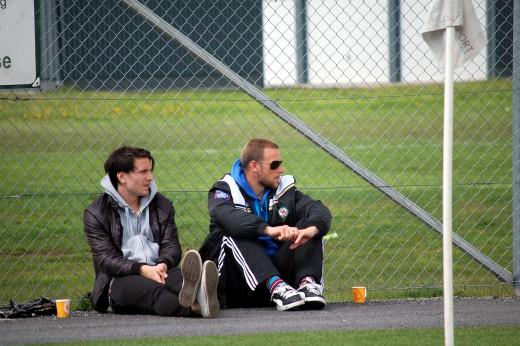 Marcus Astvald och Peter Samuelsson - återförenade hos Degerfos. Vem hade väl kunnat tro det. (Bilden togs då Mackan och Peter var på Ekäng och såg ÖSK Ungdom spela mot Strömtorp).