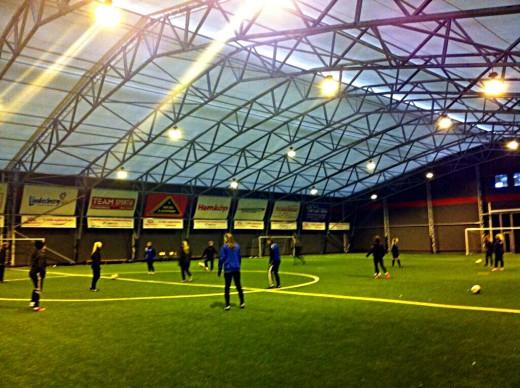 Fotbollshallen i Lindesberg.