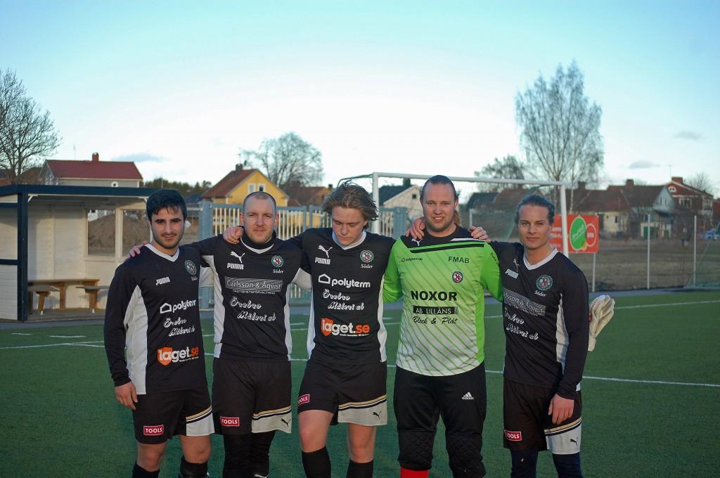 Fyra målgörare ch en straffräddare: Johnny Keyrouz, Mathias Dimberg, Sebastian Zettergren, Andreas Lundgren och Johan Karlsson.