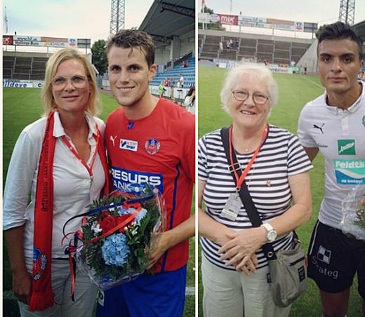 Annika och Anita Carlsson fick dela ut blommor till matchens lirare ib åda lagen