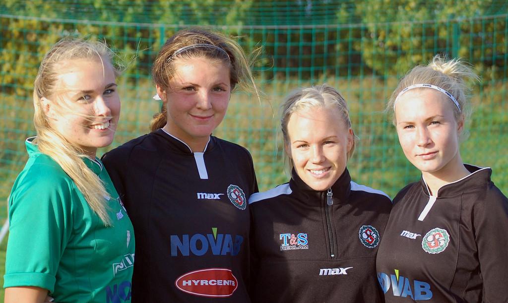 Ett tufft kval väntar ÖSK Söders målvakt Ida Lindell och målgörarna Sabina Håkansson, Hanna Åbom och Sara Sandberg.
