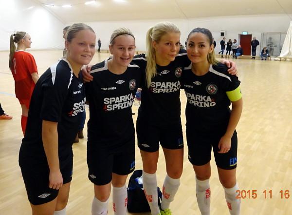 Målgörarna i futsalmatchen mot Rynninge IK. Josephine Zandén, Jenny Börjesson, Emma Tivemo och Silvia Erkisi.